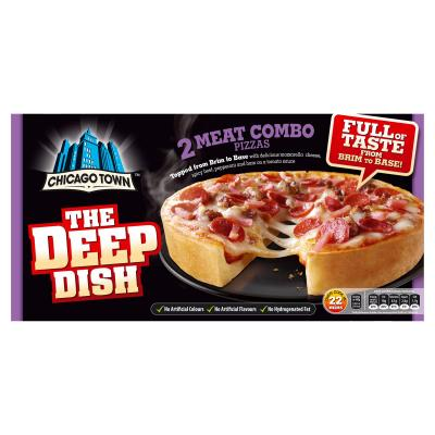 Chicago Town The Deep Dish 2 Meat Combo Pizzas 2 X 160g Pizza